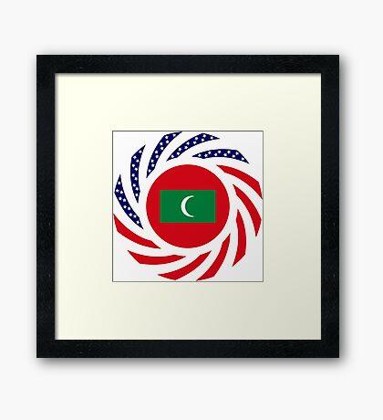 Maldivan American Multinational Patriot Flag Series Framed Print