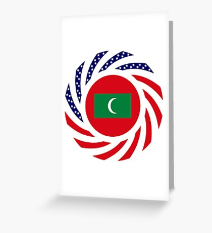 Maldivan American Multinational Patriot Flag Series Greeting Card