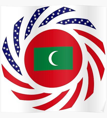 Maldivan American Multinational Patriot Flag Series Poster