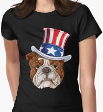 English Bulldog American Flag Hat T shirt 4th of July Dog Women's Fitted T-Shirt