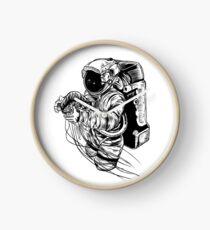 Astronaut Jellyfish Surrealism Line Art Clock