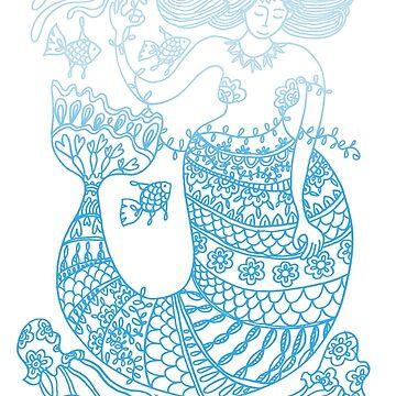 Mermaid and Friends - gradient print by TangerineMeg