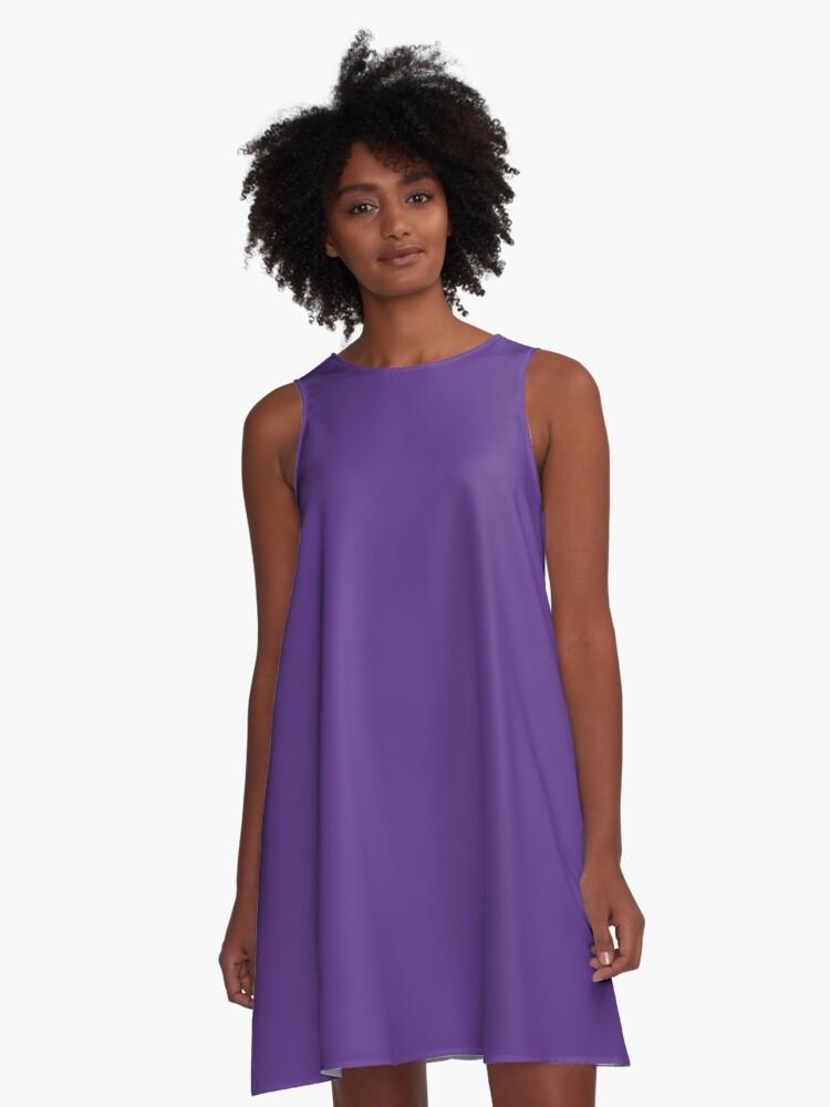 Solid Purple T-shirt - Plain Violet Favorite Color Tee A-Line Dress Front