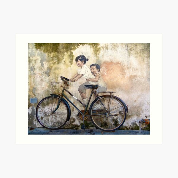 Kids On Bicycle - Graffiti Art - Georgetown - Penang Island - Malaysia  Art Print