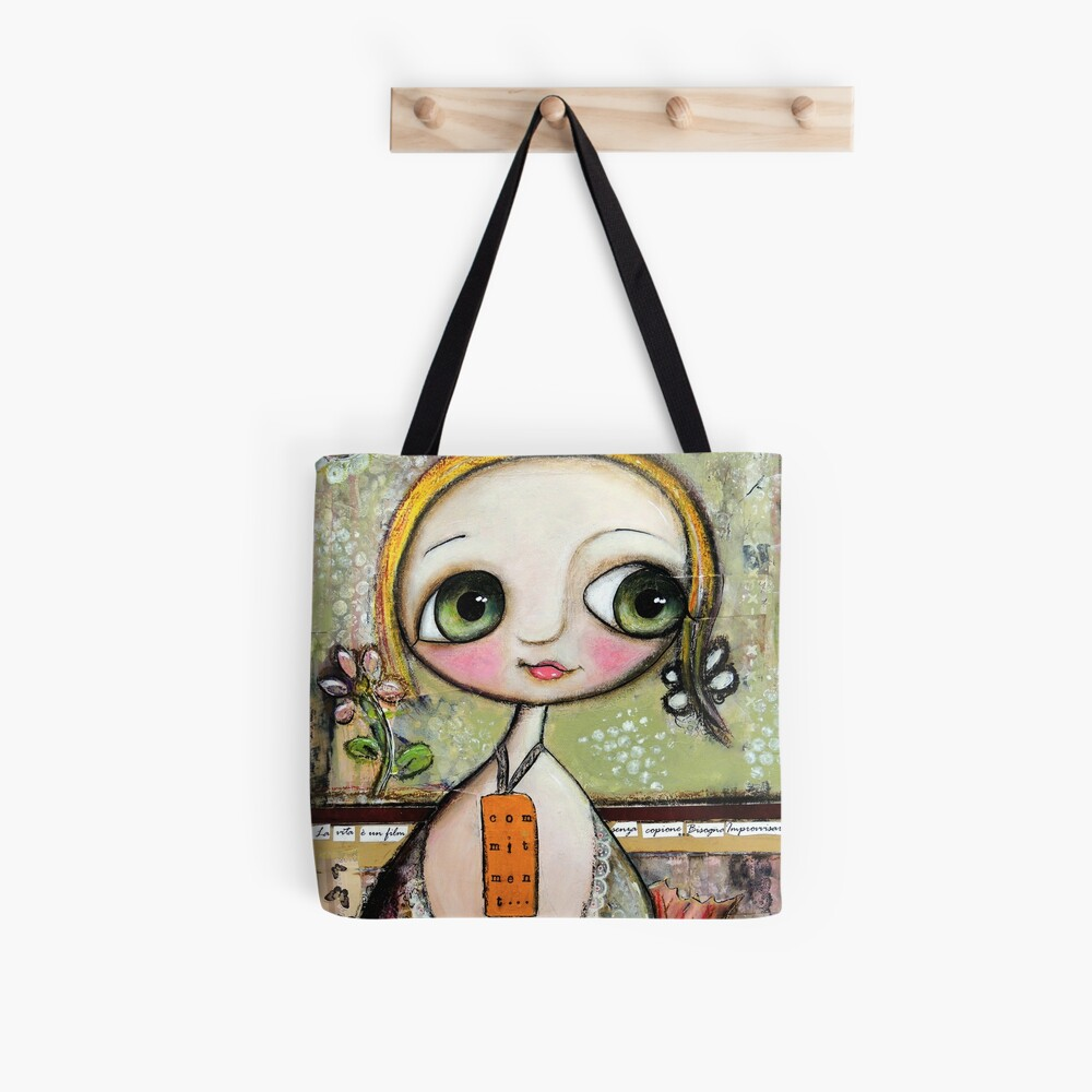 Blonde Doll with big eyes, art by Margherita Arrighi Tote Bag