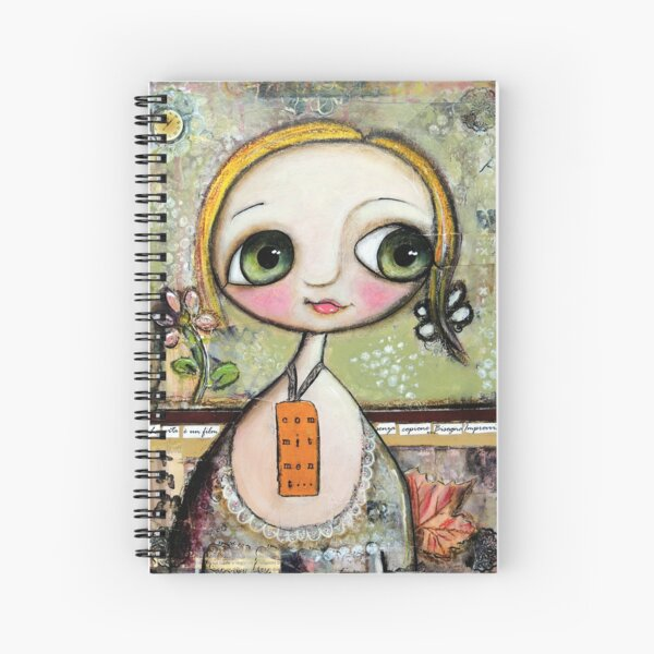 Blonde Doll with big eyes, art by Margherita Arrighi Spiral Notebook