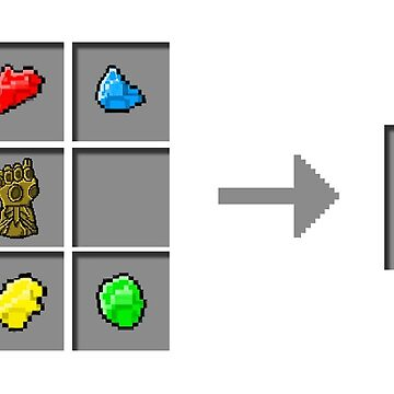 Minecraft x Avengers! Infinity Glove crafting recipe (Transparent Background) by TopsFantasy