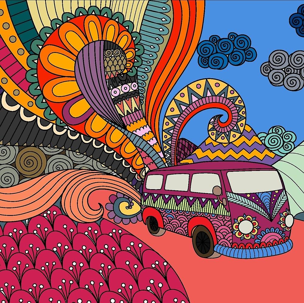 Hippies Doodle Art,  70s-80s Cartoon Art by Melody Koert