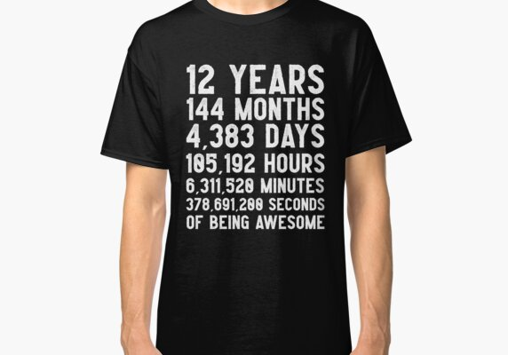 12th Birthday Countdown T-Shirt Funny Gift Birthday Gift 12 Year Olds  | Happy Birthday 12 Years Old | Gift for 12 Year Olds