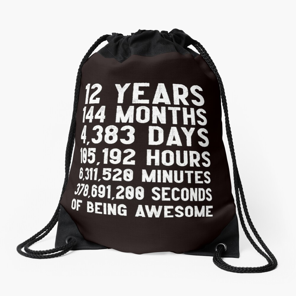 12th Birthday Countdown T-Shirt Funny Gift Birthday Gift 12 Year Olds  | Happy Birthday 12 Years Old | Gift for 12 Year Olds Drawstring Bag
