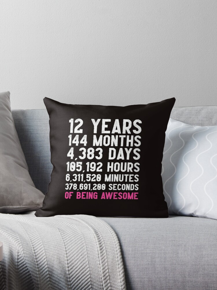 Girls 12th Birthday Countdown T Shirt Funny Gift Birthday Gift 12 Year Old Girls Happy Birthday 12 Years Old Gift For 12 Year Olds Throw Pillow