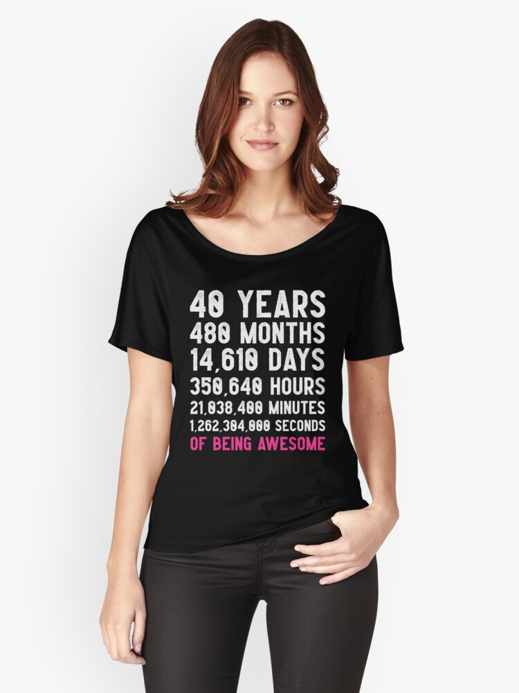 Womens 40th Birthday Countdown T Shirt Funny Gift 40 Year Old For