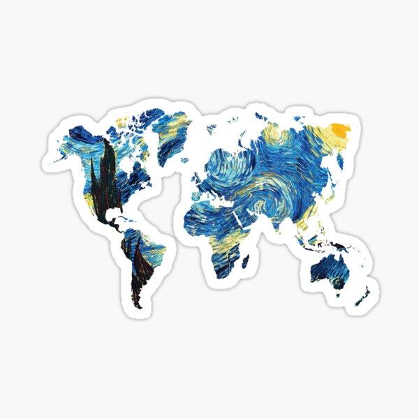 Van Gogh Starry Night World Map Sticker