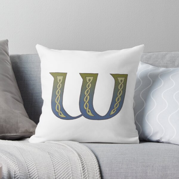 Celtic Knotwork Alphabet - Letter W Throw Pillow