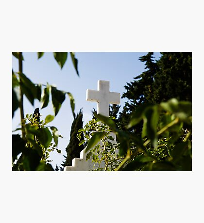 Stone cross in a catholic cemetery, Portugal Photographic Print