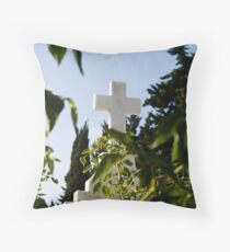 Stone cross in a catholic cemetery, Portugal Throw Pillow