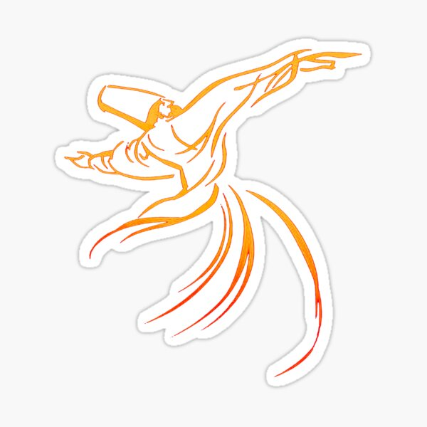 Sema The Dance Of The Whirling Dervish Line Drawing Sticker
