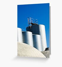 Stainless steel tanks in a winery, Portugal Greeting Card
