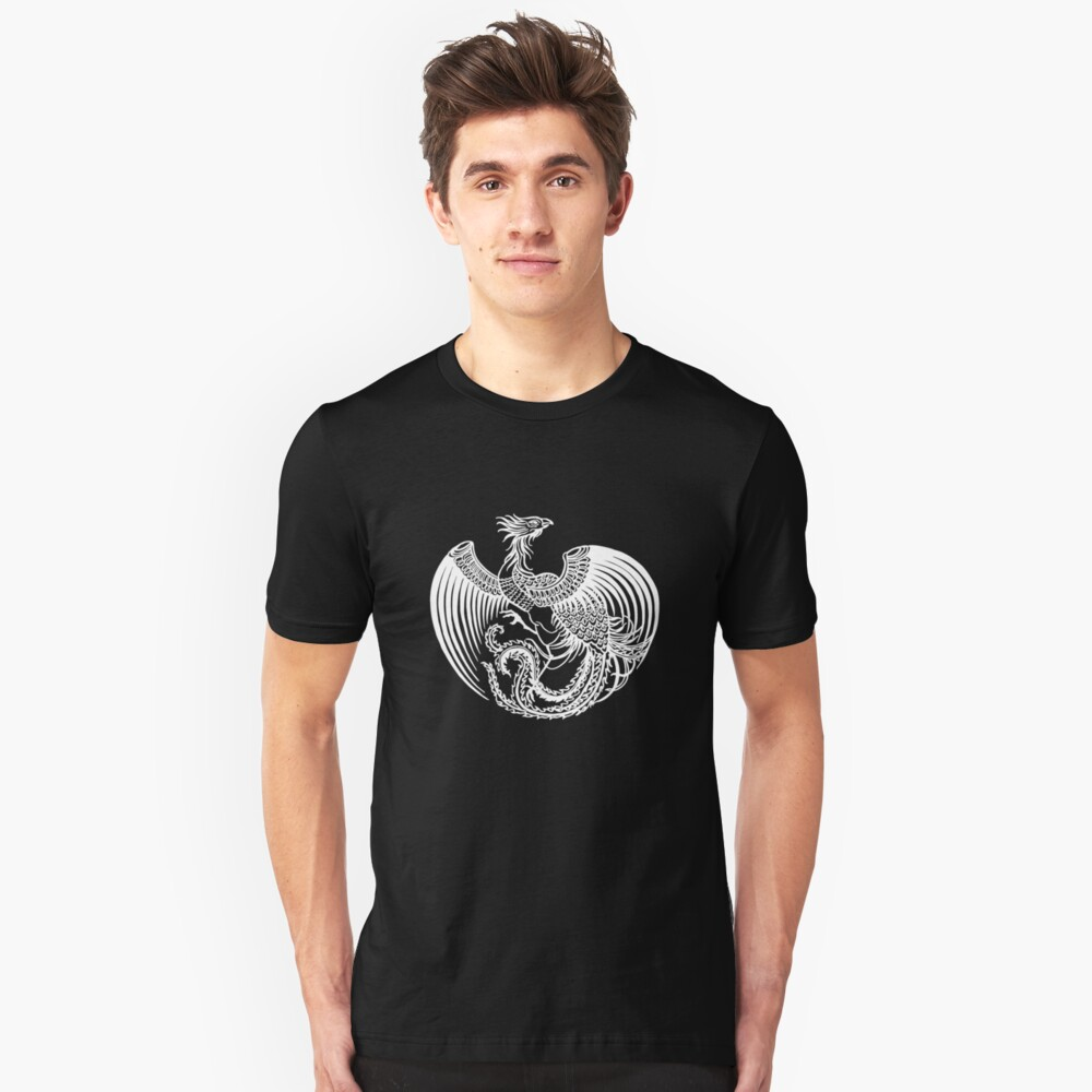 Asian Art White Rooster Unisex T-Shirt Front