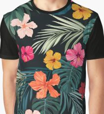 Seamless hand drawn tropical vector pattern with bright hibiscus flowers and exotic palm leaves Graphic T-Shirt