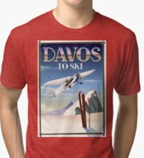 Davos Switzerland ski poster Tri-blend T-Shirt