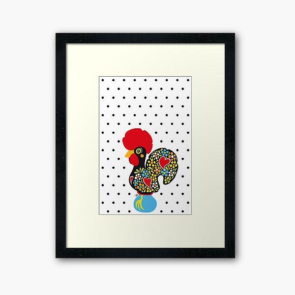 Famous Rooster 01   Polka Dots Pattern Framed Art Print