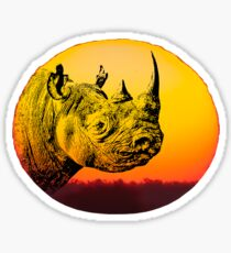 Rhino at Sunset Design for Save Rhino Supporters Sticker