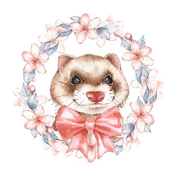 Ferret with spring wreath by Gribanessa