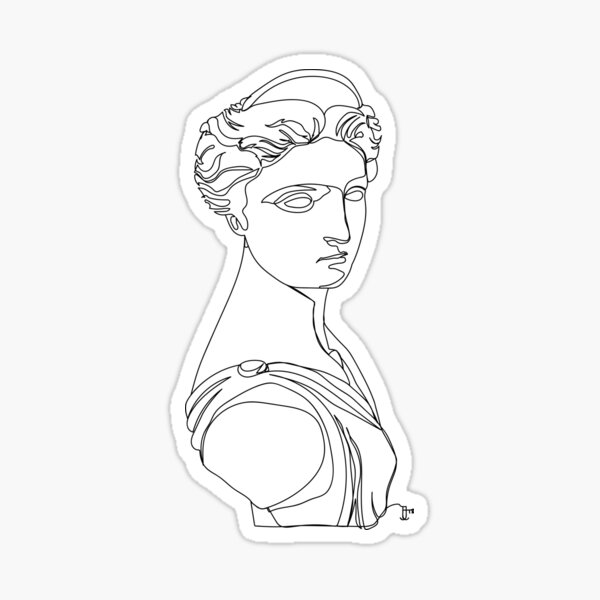 Artemis, Greek Statue - One Line Drawing Sticker