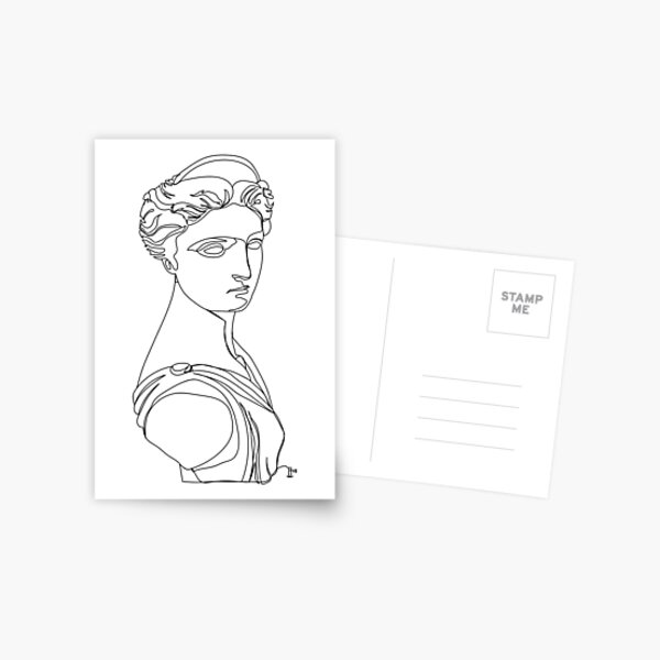 Artemis, Greek Statue - One Line Drawing Postcard
