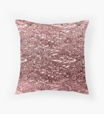 Rose Gold Pink Liquid Metallic Chrome Metal Throw Pillow