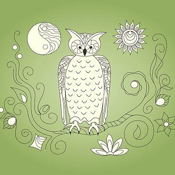 zen owl, moon and sun  by AlinNova
