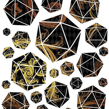 D20 Collage - Black and Gold Swirls by DecemberTea