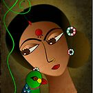 Priya and her Parrot by tandoor