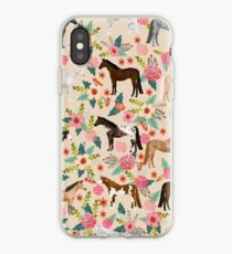 Horses floral horse breeds farm animal pets  iPhone Case