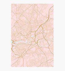 Pink Bristol map, UK Photographic Print