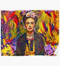 Gemaltes Porträt von Frida Poster