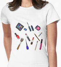 Cosmetics hand drawn illustration   Women's Fitted T-Shirt