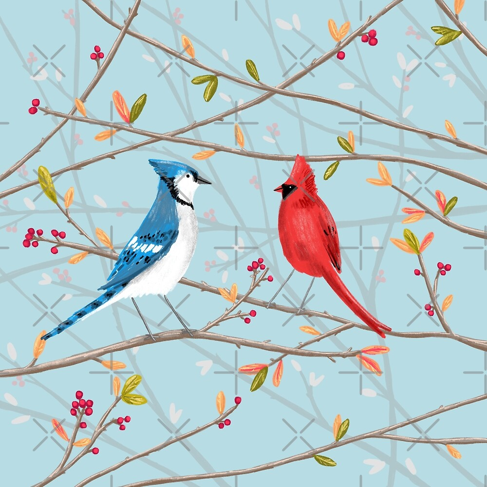Blue Jay Red Cardinal By Sophie Corrigan Redbubble