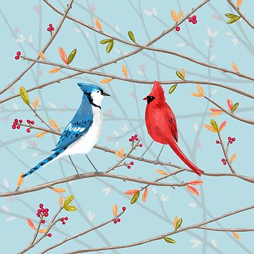 Blue Jay & Red Cardinal by SophieCorrigan
