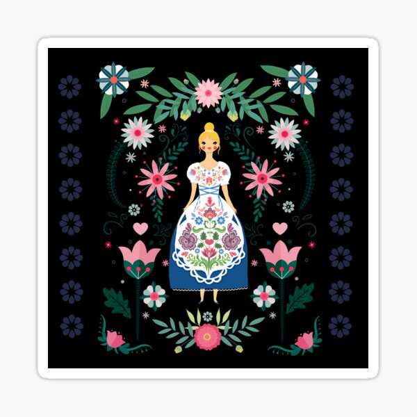 Folk Art Forest Fairy Tale Fraulein Sticker