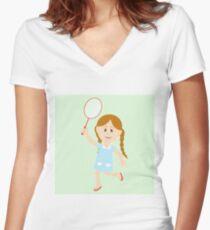 Cute girl illustration  Women's Fitted V-Neck T-Shirt