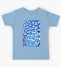 Blue and White Leopard Spots Kids Tee
