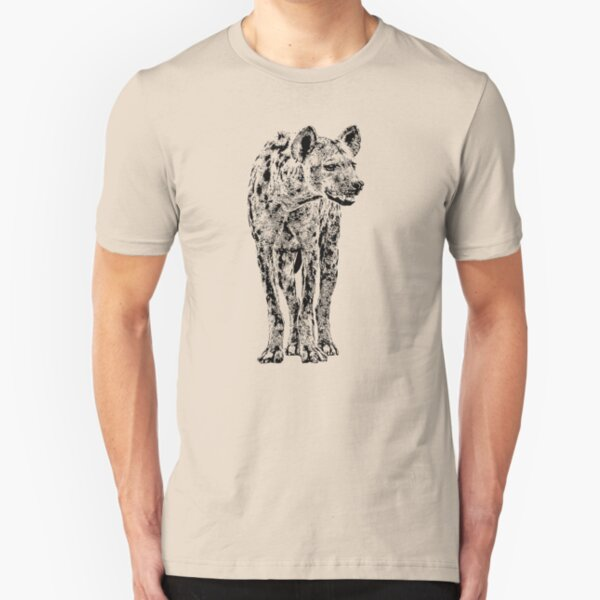 Spotted Hyena in Graphic Black and White Slim Fit T-Shirt