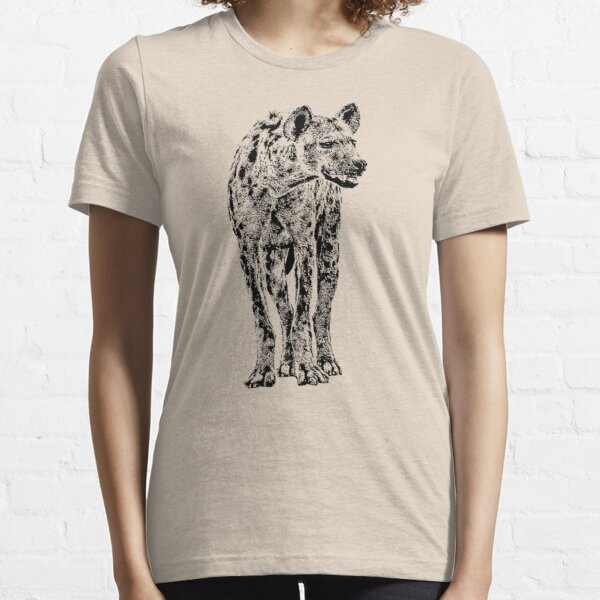 Spotted Hyena in Graphic Black and White Essential T-Shirt