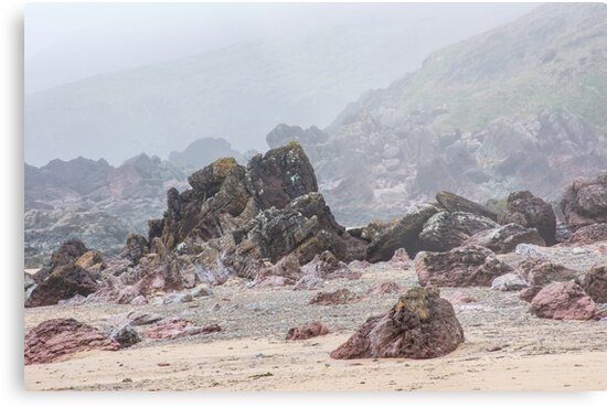 Misty morning on Pembrokeshire beach by JazzLove