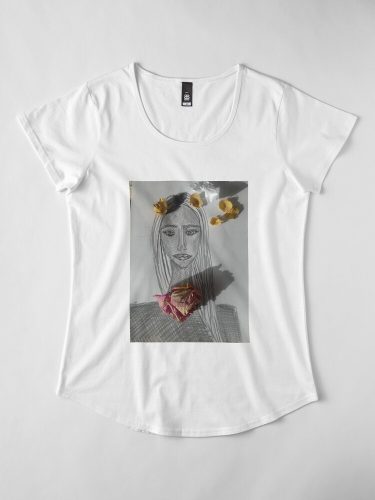 Alternate view of A Girl With Dry Flowers Premium Scoop T-Shirt