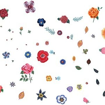 Flower stickers floral  by Rosewater-Gauze