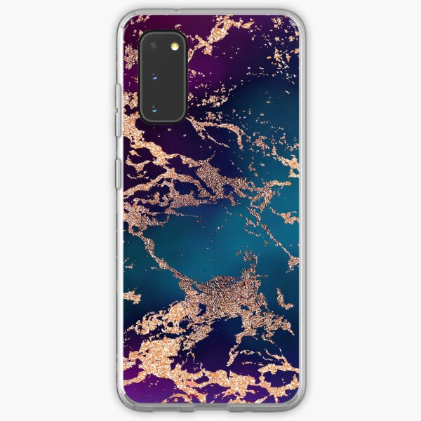 Jewel Tone Rose Gold Marble | Turquoise Blue and Purple Samsung Galaxy Soft Case