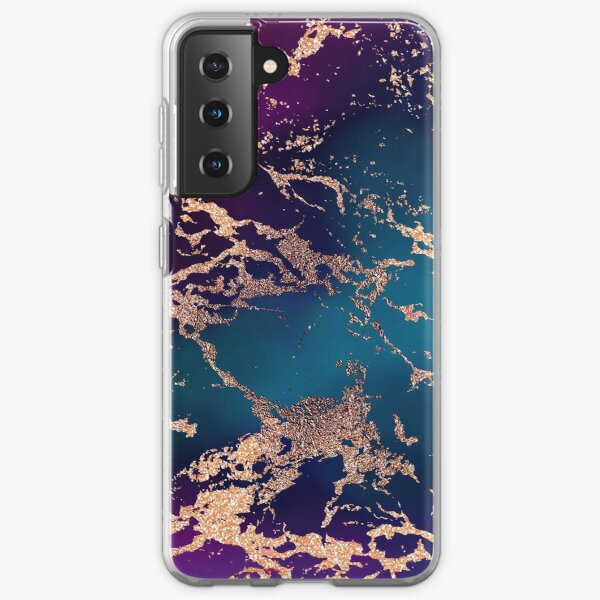 Jewel Tone Rose Gold Marble   Turquoise Blue and Purple Samsung Galaxy Soft Case